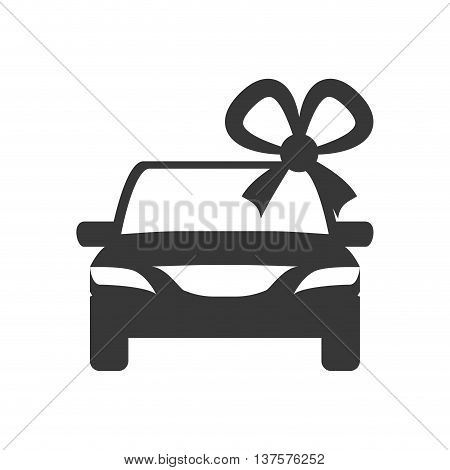 Sale concept represented by car with gift icon. Isolated and flat illustration