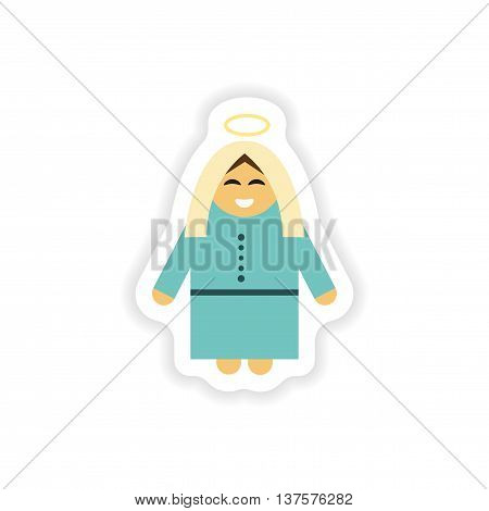 paper sticker on white background  Virgin Mary