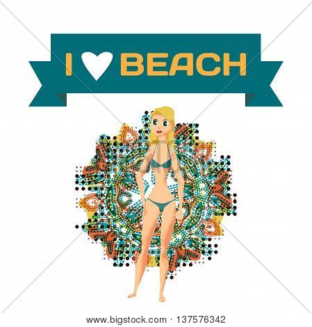 Slender woman dressed in green swimsuit is standing. Isolated flat design illustration. The comic tall blonde on the beach in green bikini