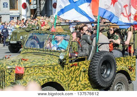 St. Petersburg, Russia - 9 May, People in the car with flags, 9 May, 2016. Memory Action