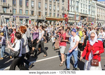 St. Petersburg, Russia - 9 May, Running in the column people with their portraits,  9 May, 2016. Memory Action