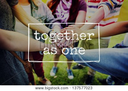 Together as One Community Support Team Unity Concept