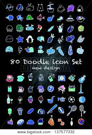 80 Vector New Doodle Icons Universal Set