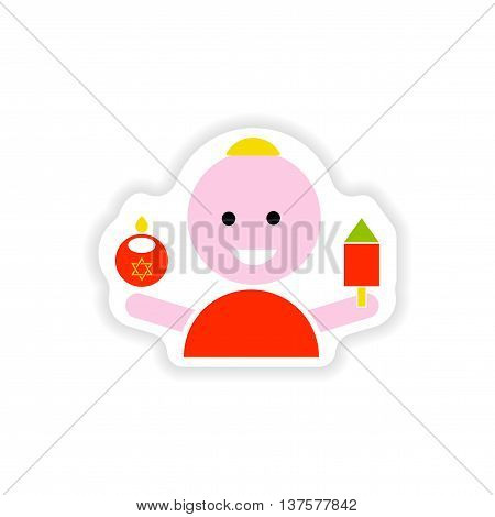 paper sticker on white background  Jewish child