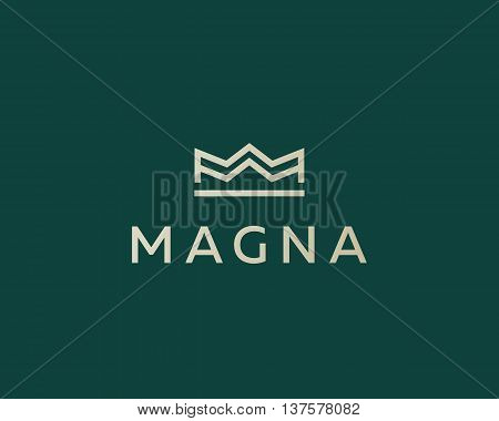 Elegant crown premium logo. Luxury royal king logotype. Monarch symbol. Realty vector sign