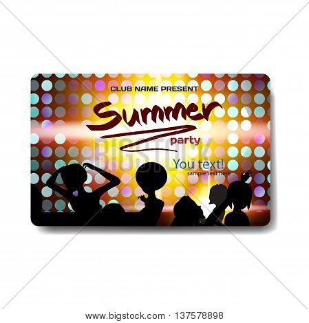 Vector summer party flyer disco style. Night beach dj women template posters invitation.