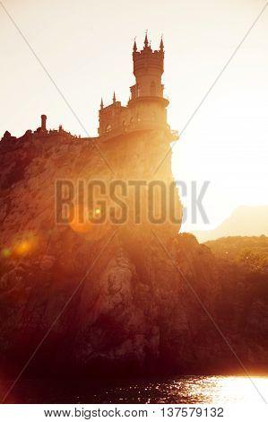 Swallow's Nest Castle in Crimea. Silhouette of landmark