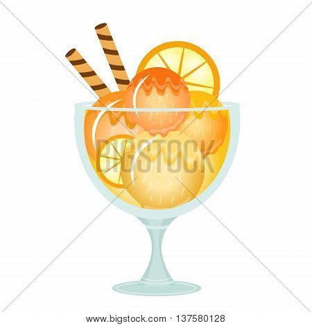 Ice cream dessert in a glass cup. Milk cocktail with orange flavor. Vector illustration.
