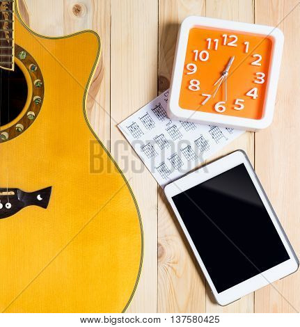 Blank Tablet with Guitar instrument for Music Contents