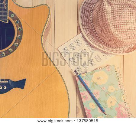 Guitar Music summer banner in vintage tone.