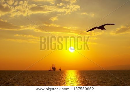 Sunset over an oil platform in the Aegean Sea