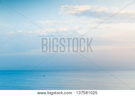 Small Boat Goes On Sea Water, Negative Space