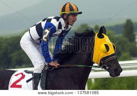 Horse race for the prize Elita in Pyatigorsk,Caucasus,Russia.