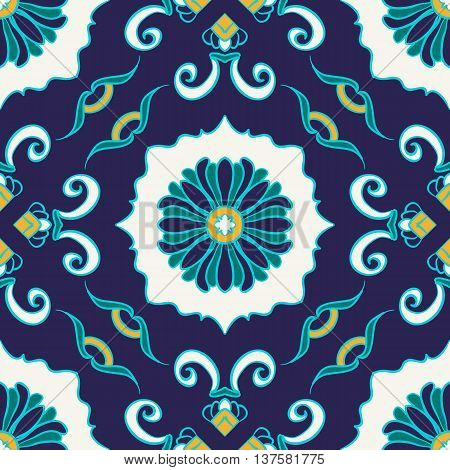 Vector seamless texture. Beautiful colored pattern for design and fashion with decorative elements. Portuguese tiles Azulejo Talavera Moroccan ornaments