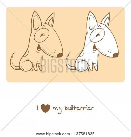 Card with cute cartoon dog breed bullterrier. Children's illustration. Little puppy. Funny baby animal.  Two variants vector contour  image, transparent background and white fill.