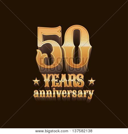 50 years anniversary vector logo. 50th birthday design sign in gold