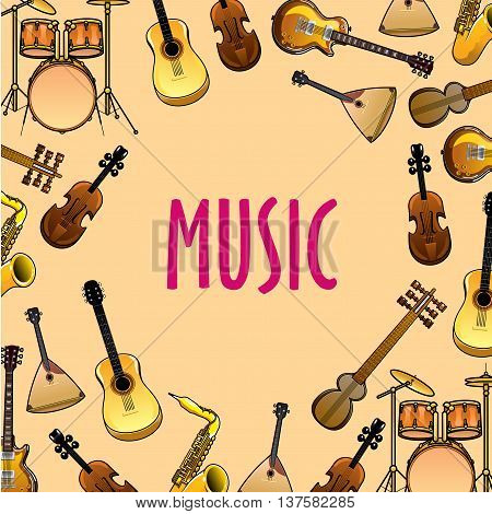 Musical instruments cartoon background for classic or ethnic music concert and entertainment event design with drum sets, acoustic and electric guitars, violins and saxophones, balalaikas and sitars