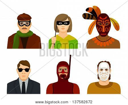 men and a girl in masks and glasses