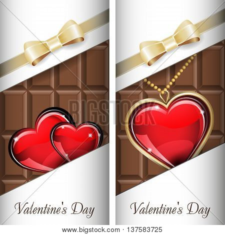 St. Valentine's Day. Set of white ornate label with gold ribbon and gold bow for milk chocolate. Grouped for easy editing.
