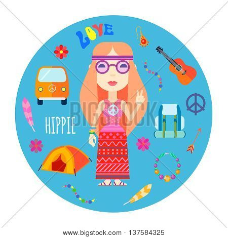 Girl hippie character with red hair guitar and backpack accessories flat round blue background abstract vector illustration