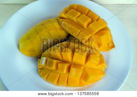 Sliced Ripe Yellow Mango On The Plate