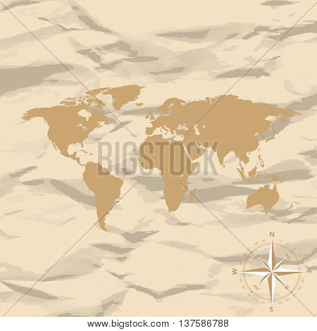 World Map On Old Vintage Retro Background With Compass