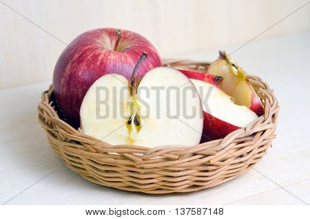 Apple Fruit Isolated On Wood Background