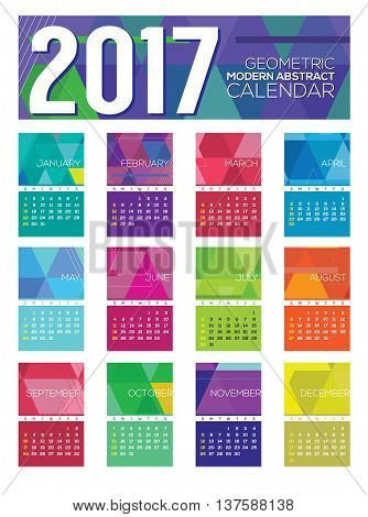 Modern Abstract 2017 Printable Calendar Starts Sunday Geometric Graphic Vector Illustration. EPS 10