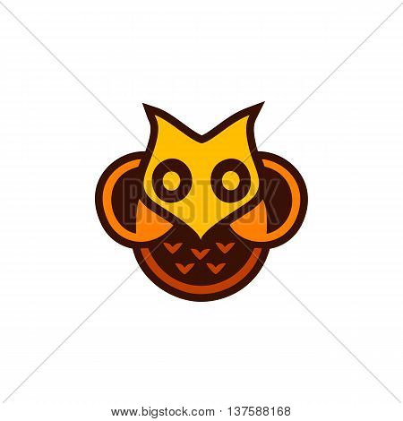 Isolated yellow and orange color owl vector logo. Designed bird logotype. Cartoon character image. Wisdom and education symbol.