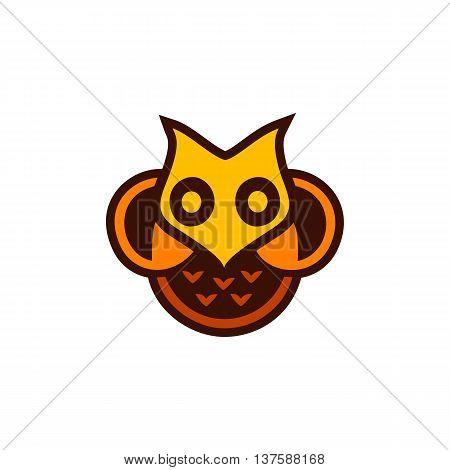 Isolated yellow and orange color owl vector logo. Designed bird logotype. Cartoon character image. Wisdom and education symbol.