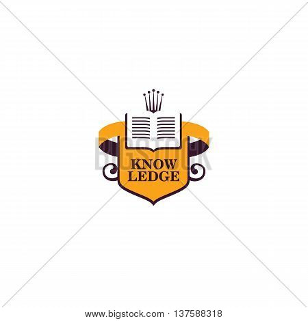 Isolated abstract book vector logo. School and university logotype. Opened book illustration. Studying symbol. Education icon