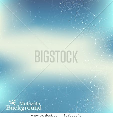Graphic background communication. Structure molecule dna, neurons, atom. Social network information. Connected lines with dots. Medicine, science, technology design. Vector illustration.