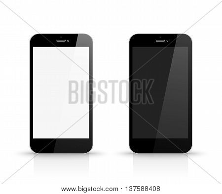 Smartphone With Black And White Screen Front View