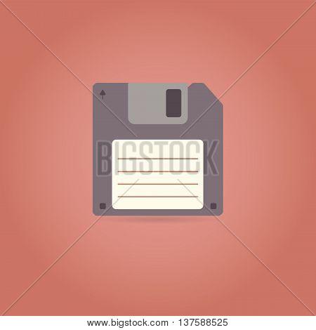 Floppy disk icon in retro style. Vector illustration.