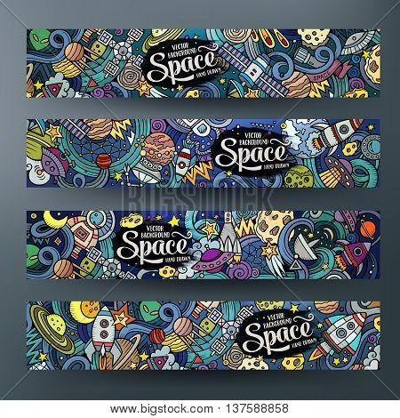 Cartoon cute colorful vector hand drawn doodles space corporate identity. 4 horizontal banners design. Templates set