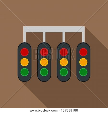 Sport traffic light icon in flat style on a coffee background