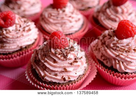 Raspberry cupcakes sprinkled with chocolate on a pink background