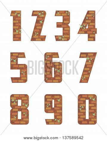 brick wall numeral stylized in the form of a bricklaying