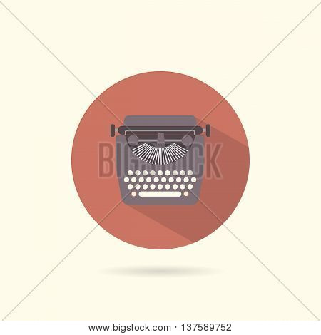 Typewriter flat round icon. Retro style. Vector illustration.