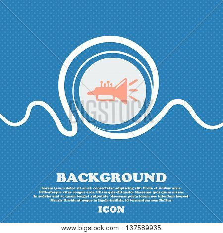 Trumpet, Brass Instrument Sign Icon. Blue And White Abstract Background Flecked With Space For Text