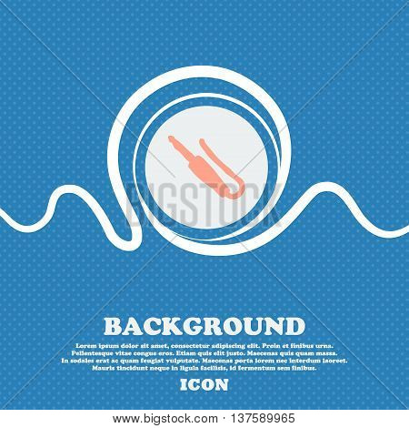 Plug, Mini Jack Sign Icon. Blue And White Abstract Background Flecked With Space For Text And Your D