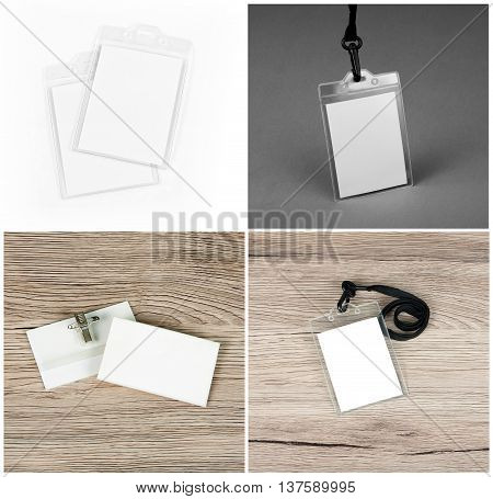 Set of id cards on wooden grey and white backgrounds