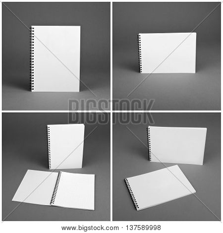 Set of blank spiral notebooks on gray background. Template for your design