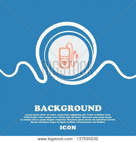 Mp3 Player, Headphones, Music Sign Icon. Blue And White Abstract Background Flecked With Space For T