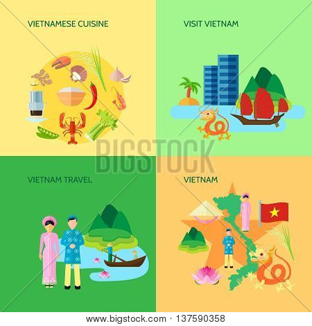 Vietnamese national cuisine culture and sightseeing for travelers 4 flat icons square poster abstract isolated vector illustration