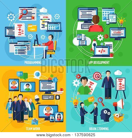 Programmer 2x2 design concept set of programming app development team work and brain storming icons compositions flat vector illustration