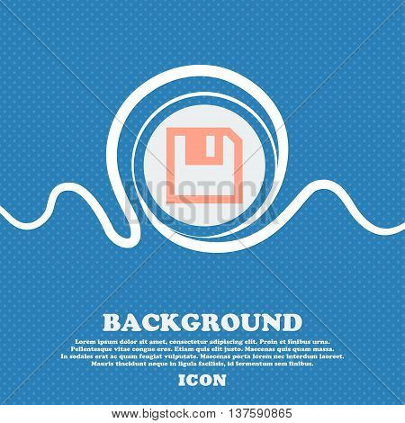 Floppy Icon. Flat Modern Design. Blue And White Abstract Background Flecked With Space For Text And