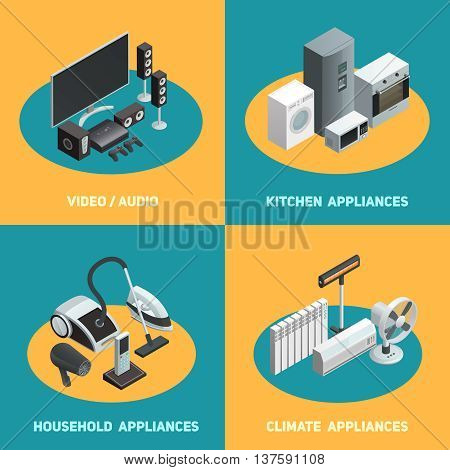 Household appliances 4 isometric icons square poster with video audio apparatus and air conditioners isolated vector illustration