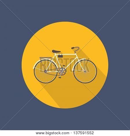 Bicycle flat round icon on dark background. Retro style. Vector illustration.