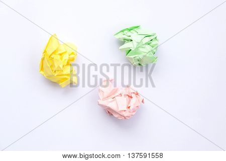 Colorful crumpled paper isolated on white background.
